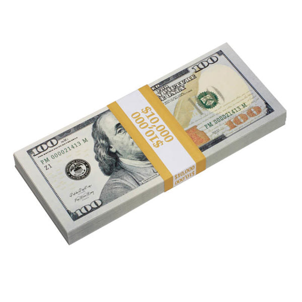 New Style $100s Blank Filler $10,000 Prop Money Stack - Prop Movie Money