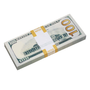 New Style $100s Blank Filler $10,000 Prop Money Stack