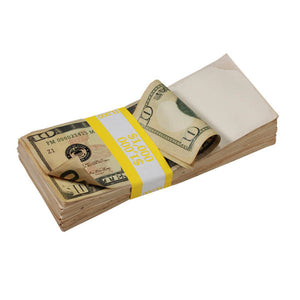 New Style $10s Aged $1,000 Blank Filler Stack