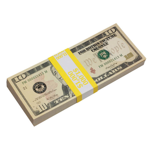 New Style $10s Blank Filler $1,000 Prop Money Stack
