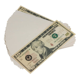 New Style $10s Blank Filler $1,000 Prop Money Stack - Prop Movie Money