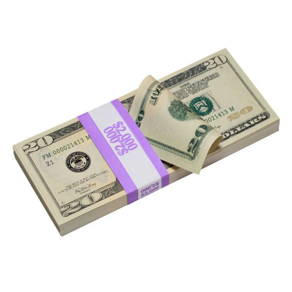New Style $20 Full Print Prop Money Stack - Prop Money