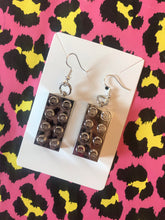 Load image into Gallery viewer, Metallic Lego block earrings