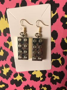 Metallic Lego block earrings