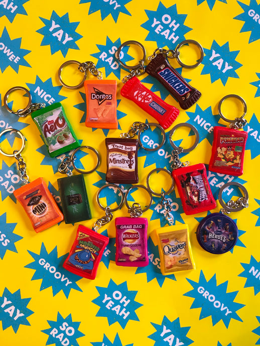 Mini Fimo packet keyrings