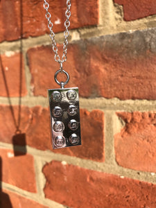 Metallic Lego block necklace