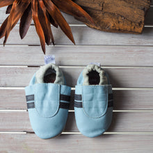 Load image into Gallery viewer, Leather Soft Sole Booti's - Baby Blue/Navy