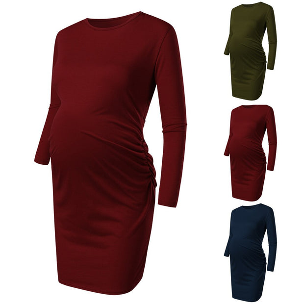 Women's Maternity dress Long Sleeve Round Sleeve