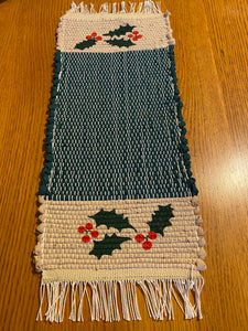 "Handwoven Hand Painted Christmas  Mini Runner 8""W x 19""L"