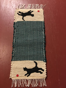 "Handwoven Mini Runner Hand Painted Kitty at Play 8""W x 19""L"