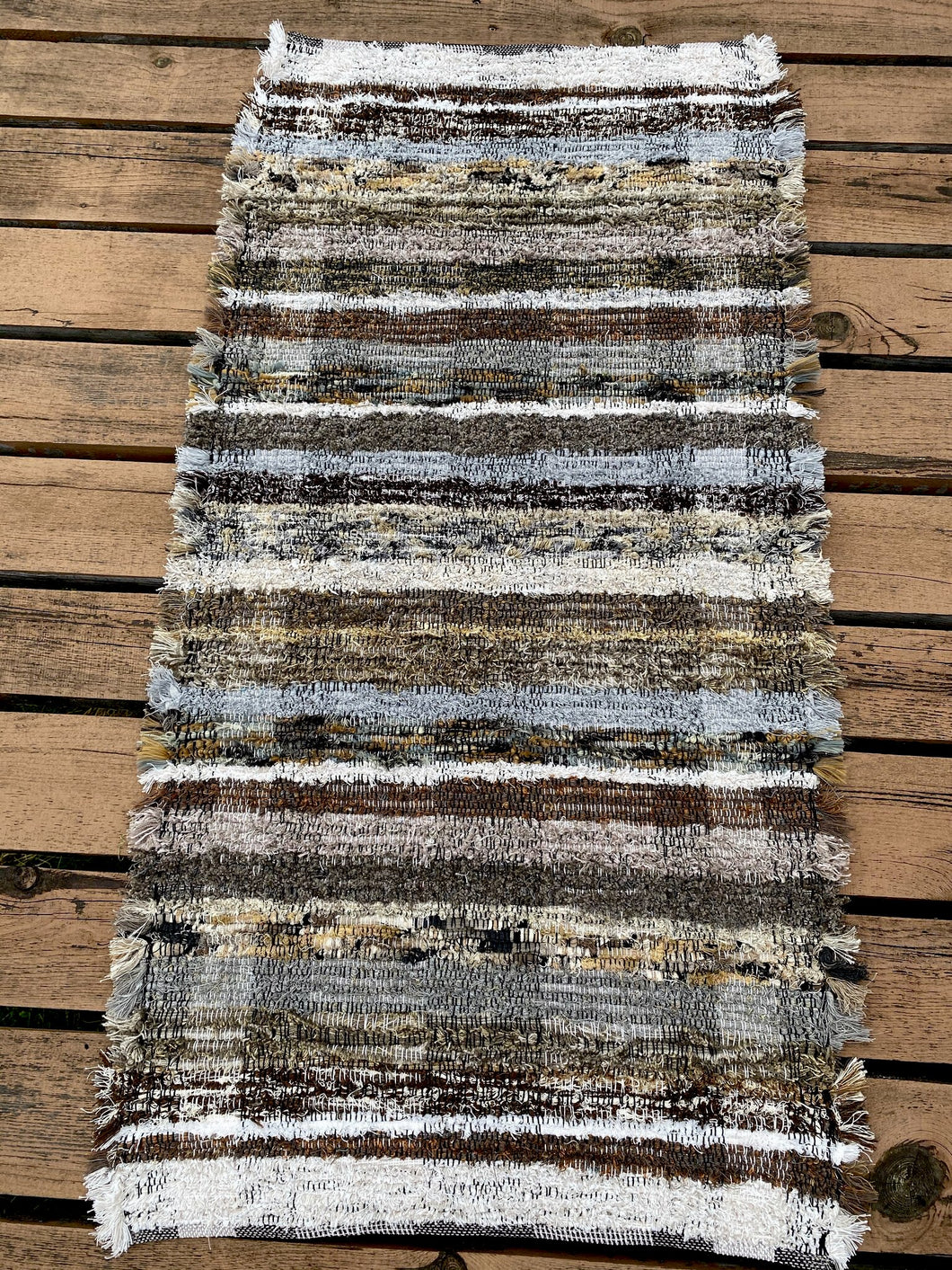 "Handwoven Rug Brown Series 25""W x 48""L"
