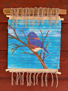 "Handwoven Watercolor Bluebird Wall Hanging  14""W x 18""L"