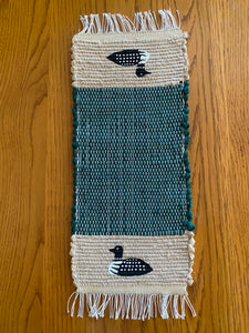 "Loon Handwoven Hand Painted Mini Runner 8""W x 20""L"