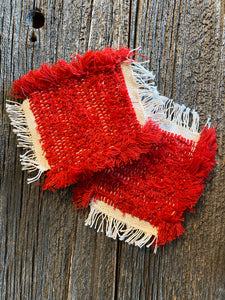 Handwoven Mug Rugs-Coasters Red Set-2