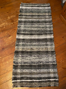 "Handwoven Rug Black/Grey Series 30""W x 73""L"