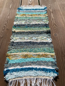 "Handwoven Table Runner Teal Series 13""W x 35""L"