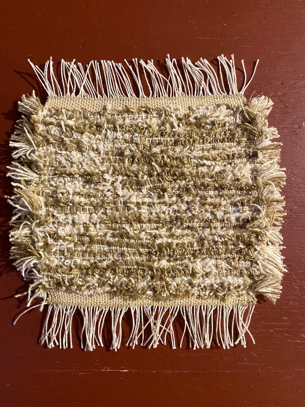 "Handwoven Beige/White Mini Mat/Hot Pad 9""W x 11""L"