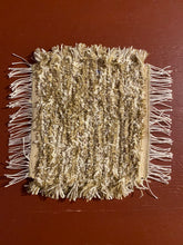 "Load image into Gallery viewer, Handwoven Beige/White Mini Mat/Hot Pad 9""W x 11""L"