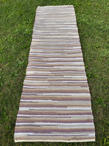 "Handwoven Rug Burgundy, Beige, Cream, Cotton 27""W x 90""L (7' 6"") Sale"