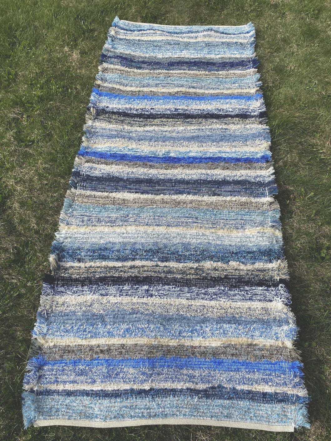 "Handwoven Rug Blue Rainbow Series 30""W x 71""L Floor Runner"