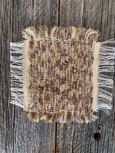 "Handwoven Beige/Brown Mini Mat/Hot Pad 9""W x 11""L"