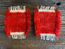 Load image into Gallery viewer, Handwoven Mug Rugs-Coasters Red Set-2