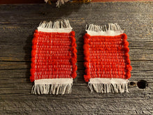 Load image into Gallery viewer, Handwoven Mug Rugs Red Fleece Set-2