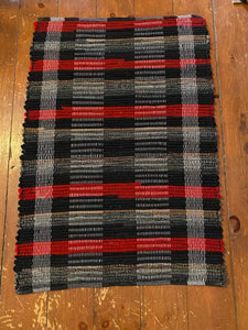 "Wool Buffalo Plaid Handwoven Rug Red Black Grey 23""W x 34""L"