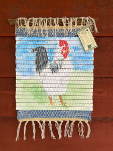 "Handwoven Watercolor Rooster Hanging 14""W x 17""L"