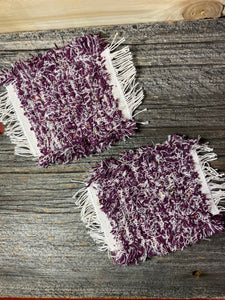 Handwoven Mug Rugs Purple White  Set-2