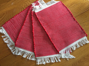 "Handwoven Placemats Red Fleece  Set of 4 - 12""W x 20""L"