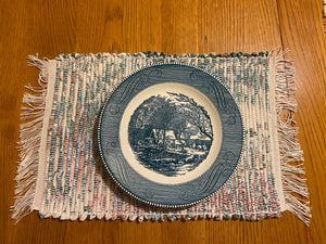 "Handwoven Blue Jean Placemats Set of 4 - 12""w x 20""l"
