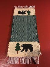 "Load image into Gallery viewer, Handwoven Mini Runner Hand Painted Bear Pine Tree 8""W x 19""L"