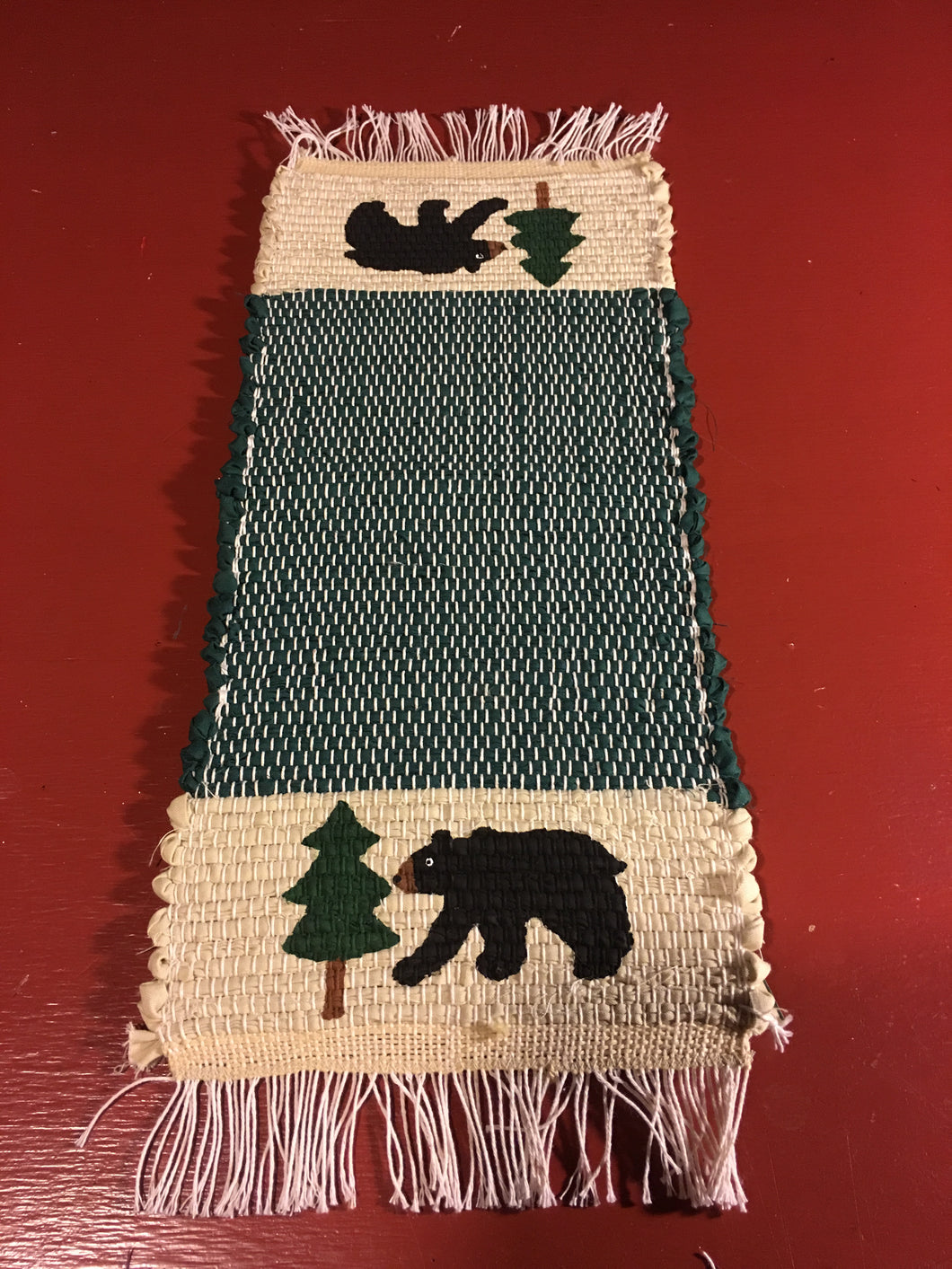 "Handwoven Mini Runner Hand Painted Bear Pine Tree 8""W x 19""L"
