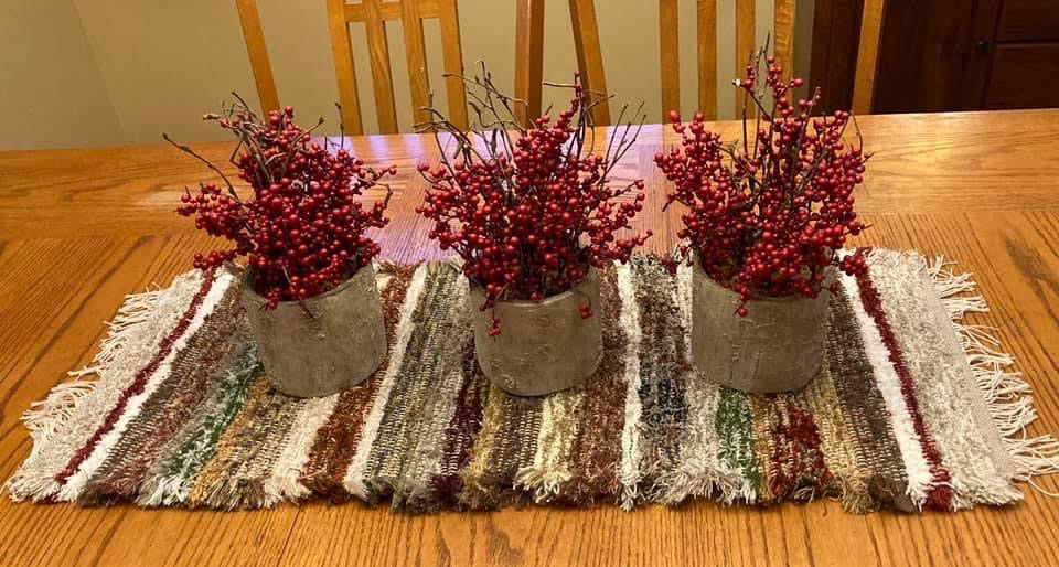 "Handwoven Earth Tone Table Runner 14""W x 36""L"
