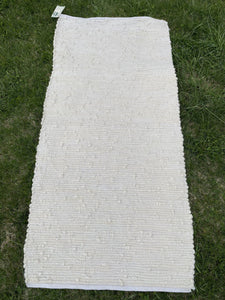 "Handwoven Rug Cream Looper 27""W x 62""L"