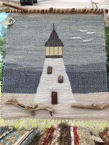 "Lighthouse Tapestry Handwoven 23""W x 30""L"