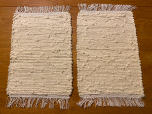 "Cream Looper Placemats Handwoven Set of 4 - 12""W x 20""L"