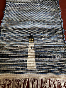 "Woven Blue Jean Hand Painted Light House Table Runner 12""w x 35""l"