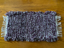"Load image into Gallery viewer, Handwoven Tank Topper/Cover Purple Variegated 10""W x 20""L"