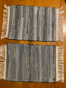 "Placemats Blue Jean Handwoven Set-2  12""W x 20""L"