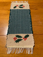 "Load image into Gallery viewer, Handwoven Hand Painted Christmas  Mini Runner 8""W x 19""L"