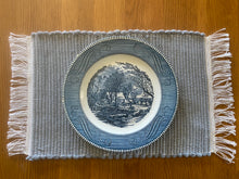 "Load image into Gallery viewer, Handwoven Placemats Grey Fleece Set-4  12""W x 20""L"