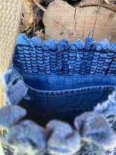 "Load image into Gallery viewer, Handwoven Handbag Blue Jean Tote 14""W x 13""L"