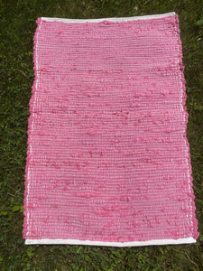 "Handwoven Rug Rose Chenille Fabric 23""W x 35""L SALE"