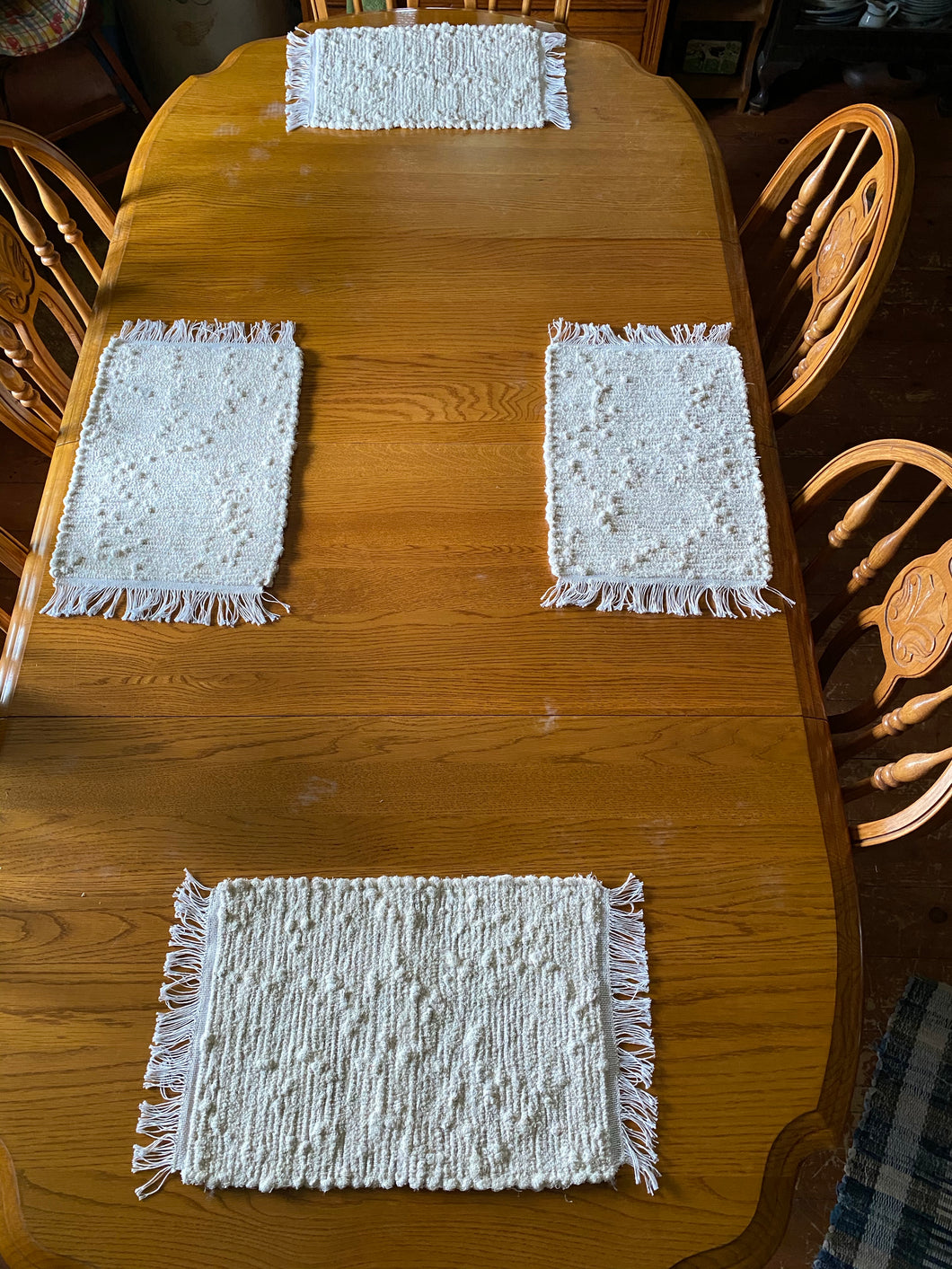 "Handwoven Placemats Cream Looper  Set of 4 - 12""W x 20""L"