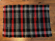 "Load image into Gallery viewer, Wool Buffalo Plaid Handwoven Rug Red Black Grey 23""W x 34""L"