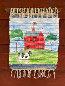 "Handwoven Watercolor Farm Days Wall Hanging 14""W x 17""L"