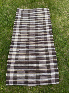 "Handwoven Rug Brown/Beige Cotton Rug 27""W x 59""L"