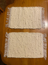 "Load image into Gallery viewer, Placemats Handwoven Set of 2 Cream Looper 12""W x  20""L"
